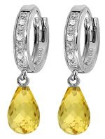 DD-3407Y: 14K. SOLID GOLD DIAMONDS HUGGIE EARRING WITH CITRINES