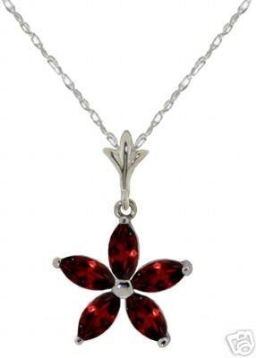 DD-2900W: 14K. SOLID WHITE GOLD NECKLACE WITH NATURAL GARNETS