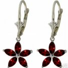 DD-2899W: 14K. WHITE GOLD CHANDELIERS EARRING WITH NATURAL GARNET