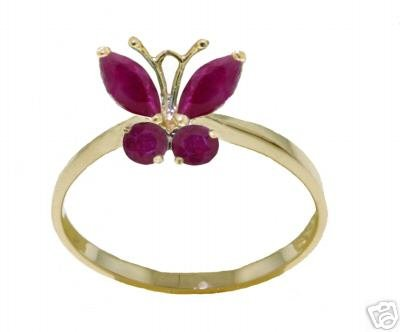 DD--2343Y: 14K. SOLID GOLD BUTTERFLY RING WITH NATURAL  RUBYS