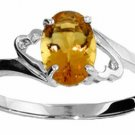 DD-2761W: 14K. WHITE SOLID GOLD RING WITH  NATURAL OVAL CITRINE