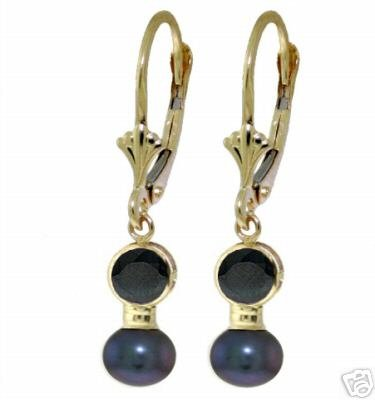 DD-2839Y: 14K. GOLD EARRING WITH NATURAL SAPPHIRE &  BLACK PEARLS