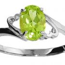 DD-1322W: 14K. SOLID WHITE GOLD RING WITH  NATURAL OVAL PERIDOT
