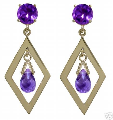 DD-1397Y: 14K. GOLD CHANDELIERS EARRINGS WITH NATURAL AMETHYST NR
