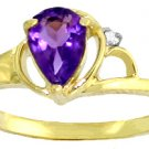 DD-R-1247Y: 14K. SOLID GOLD RING WITH NATURAL DIAMOND & AMETHYST