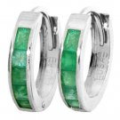 DD-1058W :14K. SOLID GOLD HOOP HUGGIE EARRINGS NATURAL EMERALD