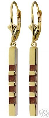 DD-2098Y: 14K. GOLD LEVER BACK EARRINGS WITH NATURAL GARNETS