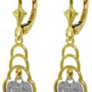 DD-4145W:14K. SOLID GOLD LEVERBACK EARRINGS WITH DIAMONDS