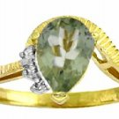DD-2983Y: 14K. GOLD RING WITH NATURAL DIAMONDS & GREEN AMETHYST