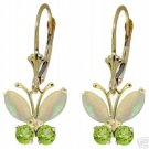 DD-2202Y: 14K GOLD BUTTERFLY EARRING WITH NATURAL OPAL & PERIDOT