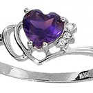 DD--1034W: 14K. WHITE GOLD RING WITH NATURAL DIAMONDS & AMETHYST