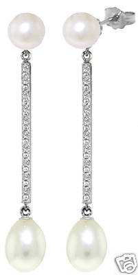 DD-3275W:14K.GOLD DANGLING EARRING WITH NATURAL DIAMOND & PEARLS
