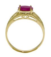 DD-2330Y: 14K. SOLID GOLD FILIGREE RING WITH  NATURAL OVAL RUBY