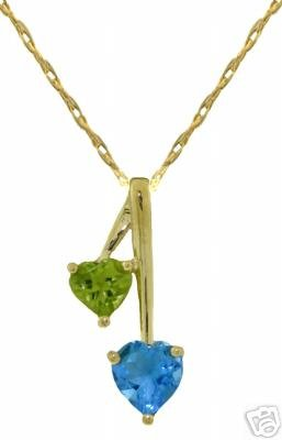 DD-2492Y: 14K GOLD HEARTS NECKLACE W/NATURAL BLUE TOPAZ & PERIDOT