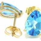 DD-1486Y: 14K. SOLID GOLD STUD EARRINGS W/ NATURAL BLUE TOPAZ