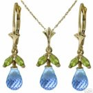 DD-2257Y-2275Y: 14K.GOLD JEWELRY SET WITH NATURAL  BLUE TOPAZ & PERIDOT
