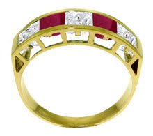 DD--3539: 14K. SOLID GOLD RING WITH  NATURAL WHITE TOPAZ & RUBIES