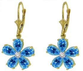 DD-3364W: 14K.WHITE GOLD FLOWER EARRINGS W/ DIAMONDS & BLUE TOPAZ
