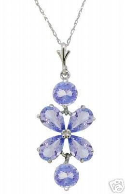 DD-2106W: 14K. WHITE GOLD NECKLACE WITH NATURAL TANZANITE