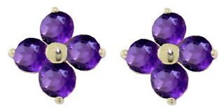 DD-1740Y: 14K. SOLID GOLD STUDS EARRINGS WITH NATURAL AMETHYSTS
