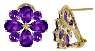 DD-2140Y: 14K SOLID GOLD FRENCH CLIPS EARRINGS WITH AMETHYST