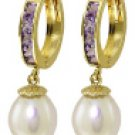 DD-2732Y: 14K GOLD HOOP EARRINGS WITH NATURAL AMETHYST & PEARLS