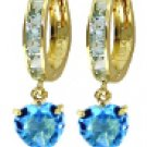 DD-1808:14K SOLID GOLD HOOP EARRING WITH NATURAL BLUE TOPAZ