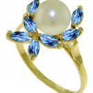 CULTURED PEARL AND REAL BLUE TOPAZ RING 14K YELLOW GOLD