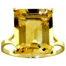 6.5 CT EMERALD CUT CITRINE RING SOLID 14K. YELLOW GOLD