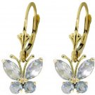 NATURAL AQUAMARINES BUTTERFLY EARRINGS 14K. YELLOW GOLD