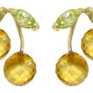 CITRINE AND PERIDOT STUD EARRINGS SOLID YELLOW 14K GOLD