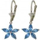 NATURAL BLUE TOPAZ FLOWER EARRINGS SOLID 14K WHITE GOLD