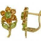 CITRINE & PERIDOT FLOWER STUD EARRINGS 14K. YELLOW GOLD