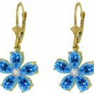 BLUE TOPAZ & DIAMOND FLOWER EARRINGS IN 14K YELLOW GOLD