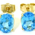 NATURAL BLUE TOPAZ OVAL STUDS EARRINGS 14K. YELLOW GOLD