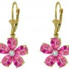 PINK TOPAZ & DIAMOND FLOWER EARRINGS IN 14K YELLOW GOLD