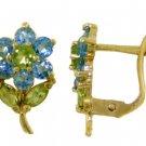 BLUE TOPAZ & PERIDOT FLOWER EARRINGS IN 14K YELLOW GOLD
