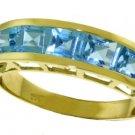 PRINCESS CUT NATURAL BLUE TOPAZ RING IN 14K YELLOW GOLD