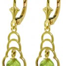 NATURAL ROUND PERIDOT LEVERBACK EARRING 14K YELLOW GOLD
