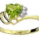 NATURAL PERIDOT HEART AND DIAMOND RING: 14K YELLOW GOLD
