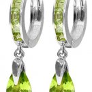 HUGGIE HOOP EARRINGS IN 14K. WHITE GOLD W/ PERIDOT DROP