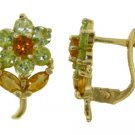 PERIDOT AND CITRINE FLOWER EARRINGS IN 14K. YELLOW GOLD