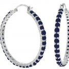 NATURAL SAPPHIRE HOOP EARRINGS IN SOLID 14K. WHITE GOLD