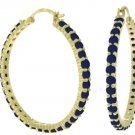 NATURAL SAPPHIRE HOOP EARRINGS IN SOLID 14K YELLOW GOLD