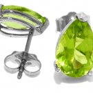 PEAR SHAPE NATURAL PERIDOT STUD EARRINGS 14K WHITE GOLD