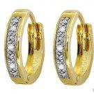 NATURAL DIAMOND HUGGIE HOOP EARRINGS: 14K. YELLOW GOLD