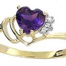 GENUINE AMETHYST HEART & DIAMONDS RING 14K. YELLOW GOLD