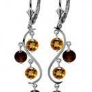 NATURAL CITRINE & GARNET DANGLE EARRINGS 14K WHITE GOLD
