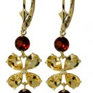 NATURAL CITRINES AND GARNETS FLOWER EARRINGS 14K YELLOW
