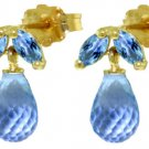 NATURAL BLUE TOPAZ BRIOLETTES EARRINGS 14K. YELLOW GOLD